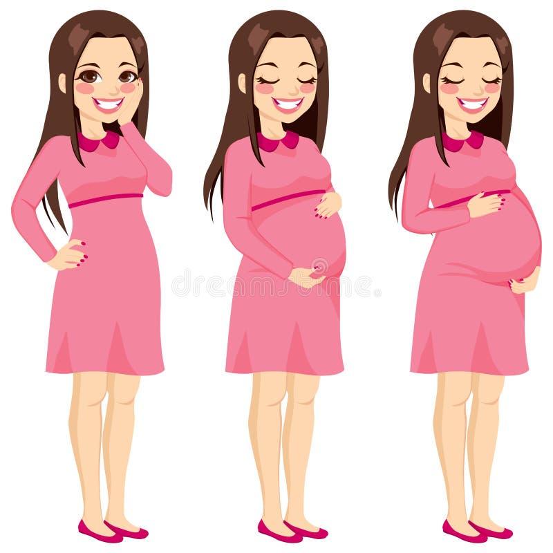 Brunetki kobieta w ciąży ilustracji