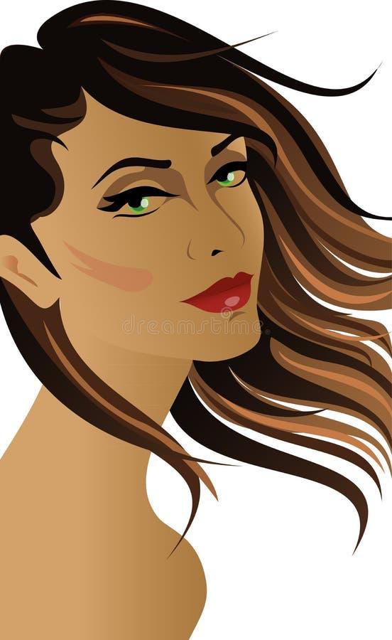 Brunetki kobieta z włosy przy wiatrem ilustracja wektor