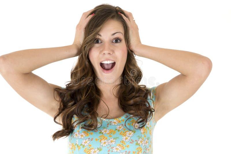 Brunetki kobiety model z zdziwionym lub zdumiewającym wyrażeniem zdjęcie stock