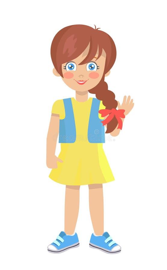 Brunetki lala Jak dziewczyna z Gęstym warkoczem w sukni ilustracji