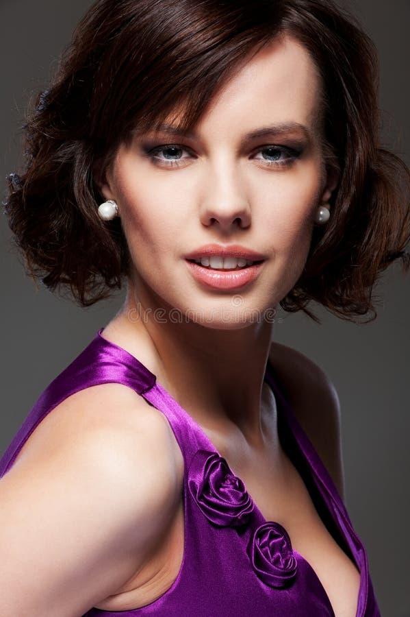 brunetki piękny smiley fotografia royalty free