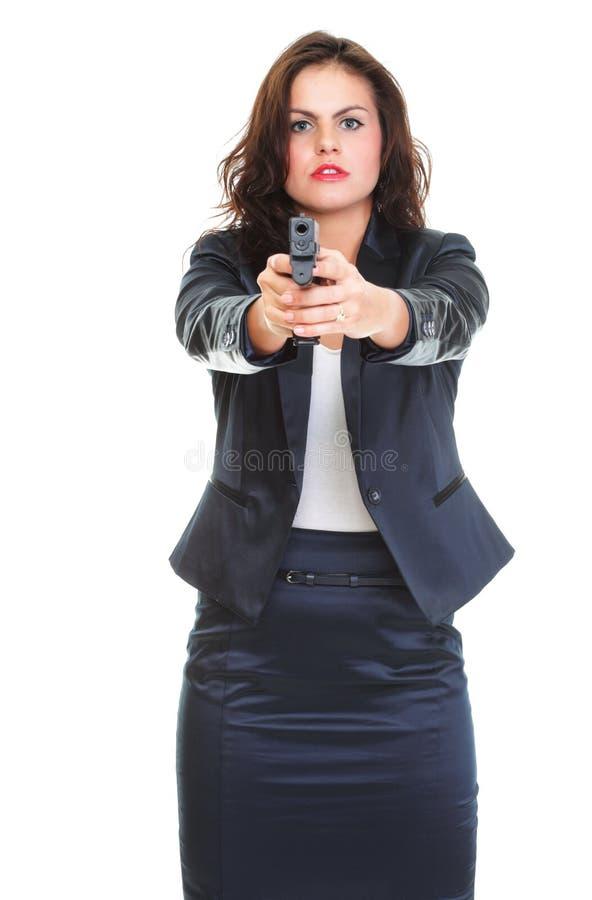 brunetki pistoletu odosobneni kobiety potomstwa obraz royalty free