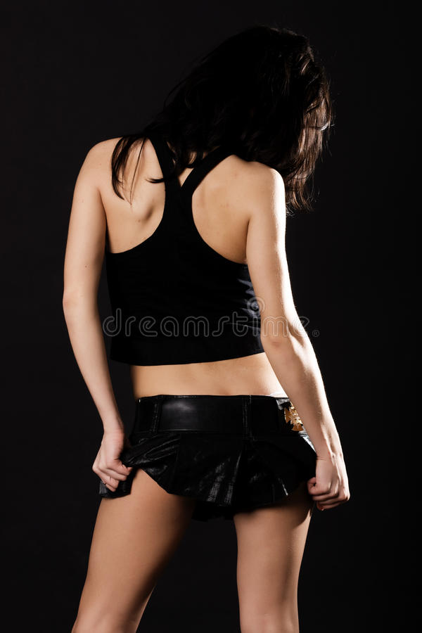 brunetki spódnica mini seksowna zdjęcie stock