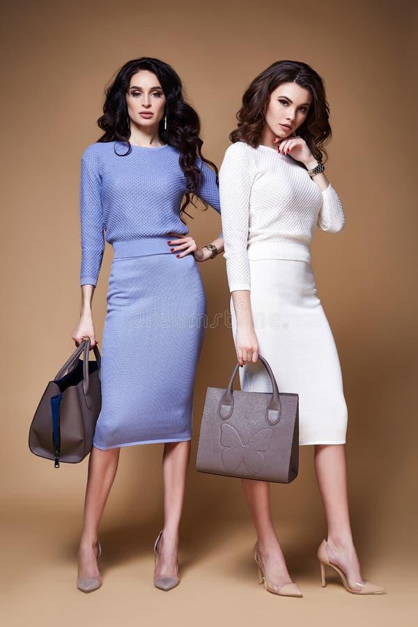 Brunett encaracolado longo 'sexy' da mulher de negócio do modelo de forma do encanto dois imagens de stock royalty free