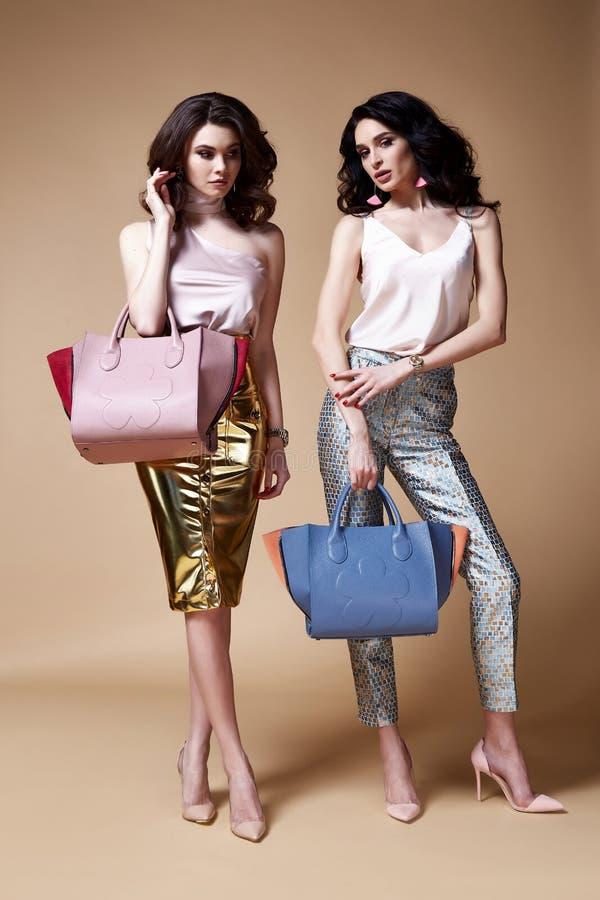 Brunett encaracolado longo 'sexy' da mulher de negócio do modelo de forma do encanto dois imagem de stock