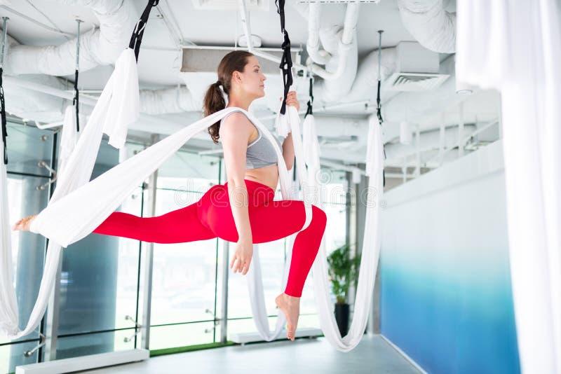 Brunett med hästsvansen som gör flyg- yoga royaltyfria bilder