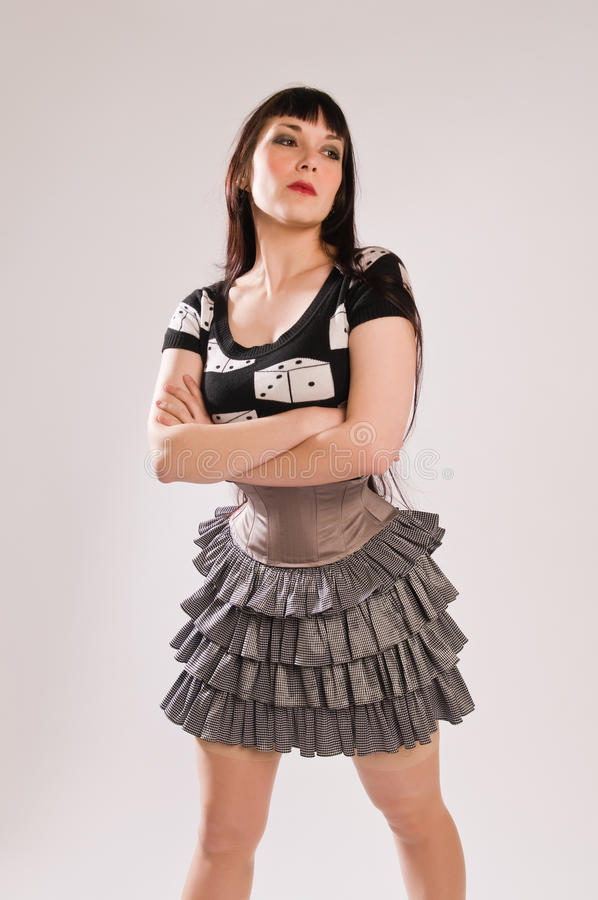 Download Brunette stock photo. Image of waist, dice, corset, blouse - 17511146