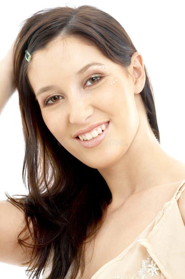 Brunette alegre com composição do diamante fotos de stock royalty free