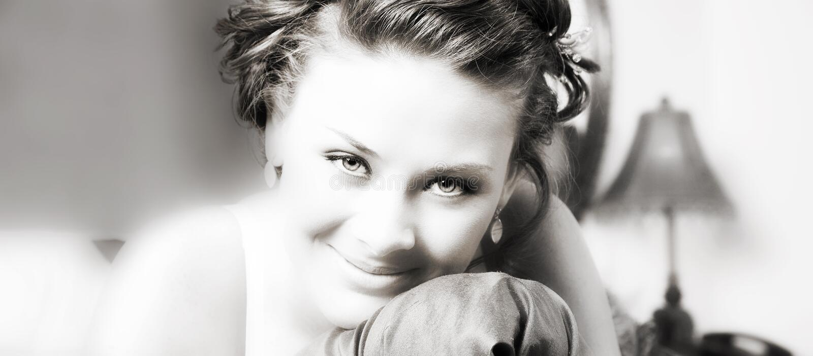 Download Brunette Beauty In Black And White Stock Photo - Image: 991808