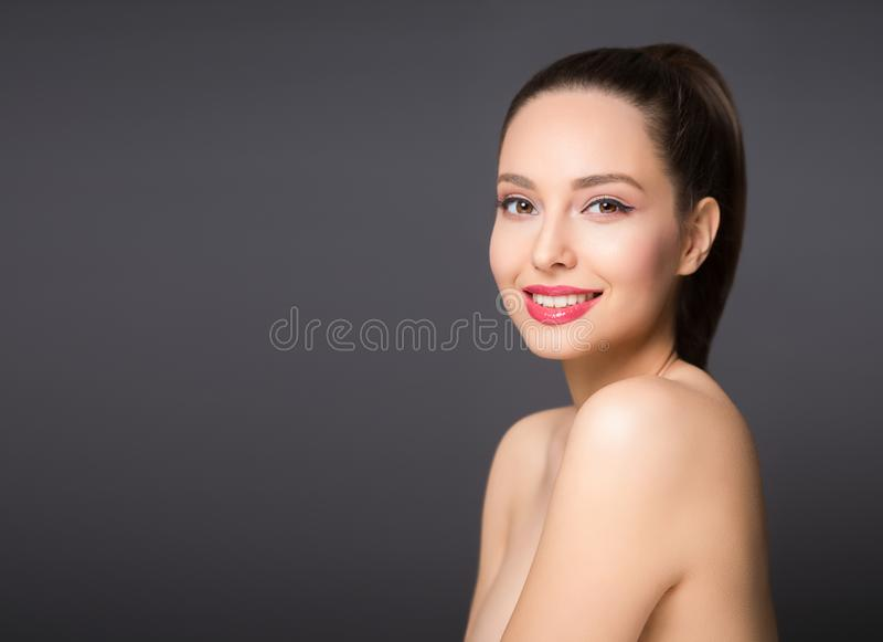 Brunette beauty in light makeup royalty free stock photos
