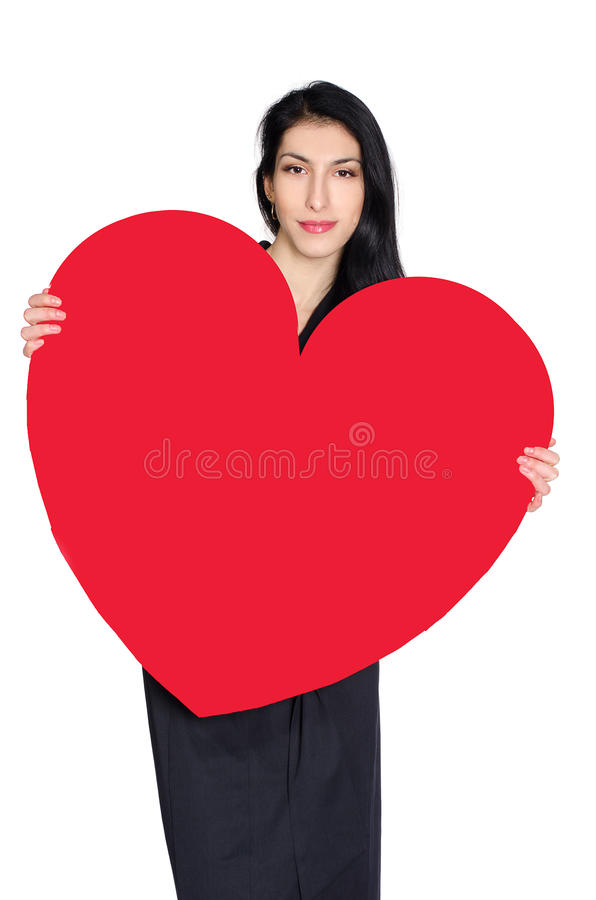 Download Brunette In Black Dress With  Heart Made ​​of Paper Stock Image - Image: 37348107