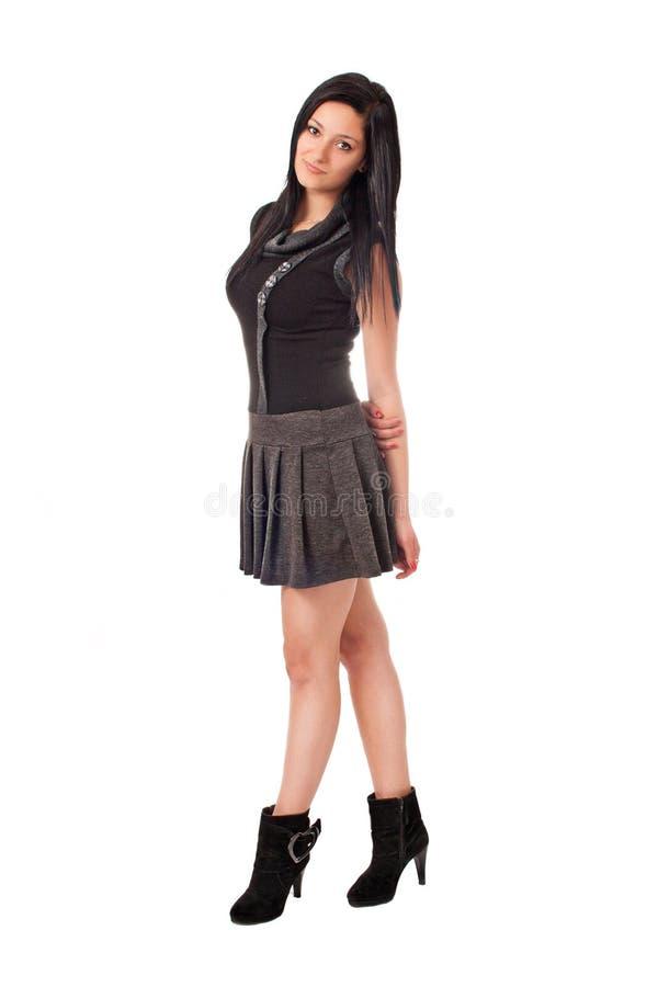 Brunette bonito aislado en alineada negra fotografía de archivo