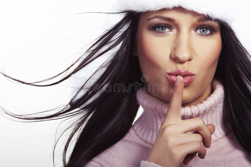 Brunette bonito no fundo branco foto de stock royalty free