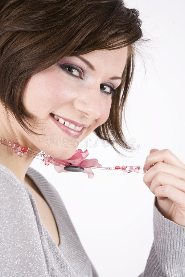 Brunette bonito, sorriso bonito imagem de stock royalty free