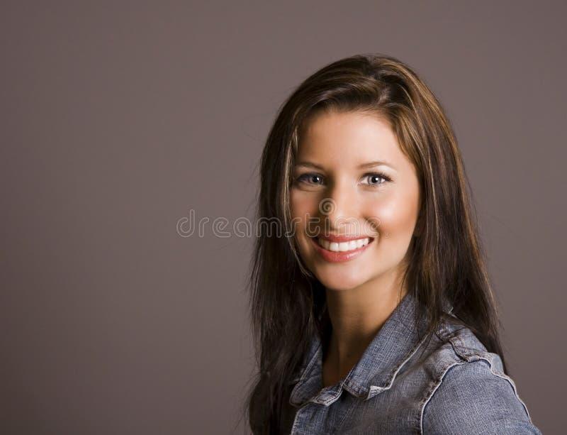 Brunette Bright Smile stock photo