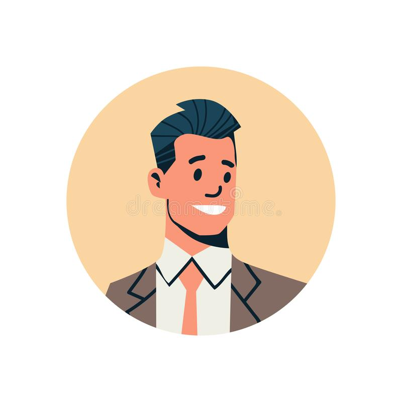 Brunette businessman avatar man face profile icon concept online support service male cartoon character portrait. Isolated flat vector illustration stock illustration