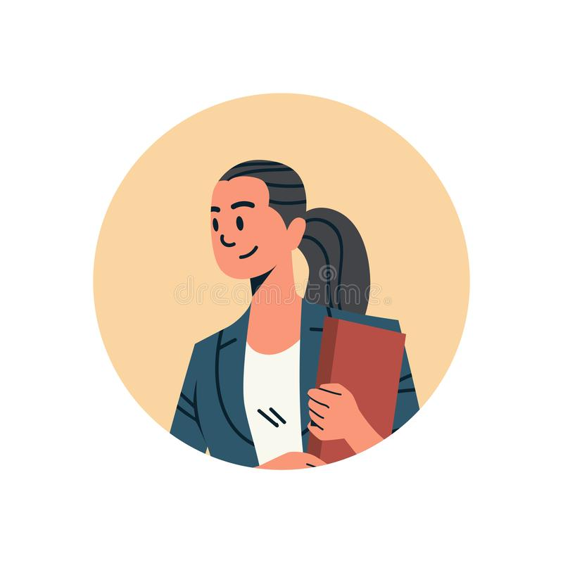 Brunette businesswoman avatar woman face profile icon concept online support service female cartoon character portrait stock illustration