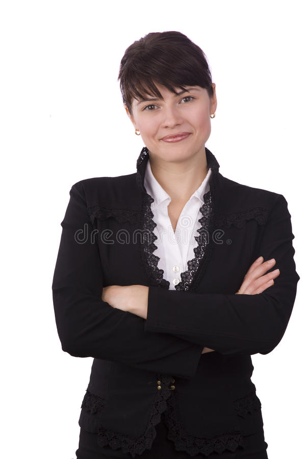 Free Brunette Businesswoman Dressed In Black Suit. Stock Photography - 11776782