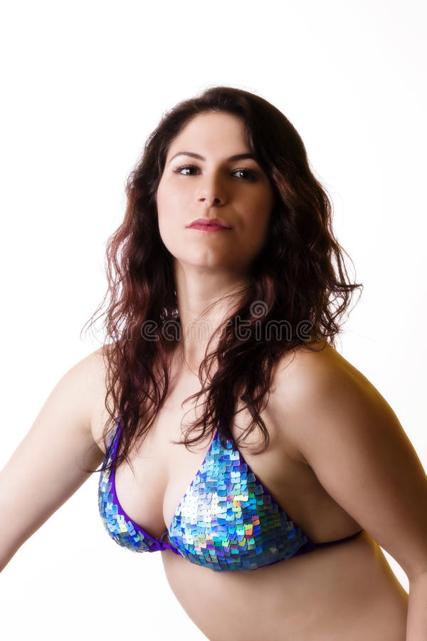 Brunette Caucasian Woman Cleavage Blue Bikini Top. Caucasian Woman In Blue Bikini Top Cleavage stock image