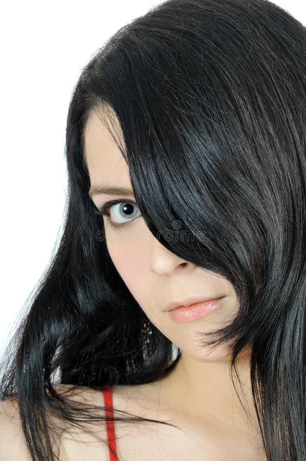 brunette charmant la verticale proche vers le haut photographie stock