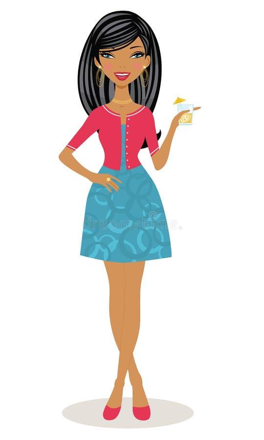 Brunette che propone con un cocktail in sua mano illustrazione di stock