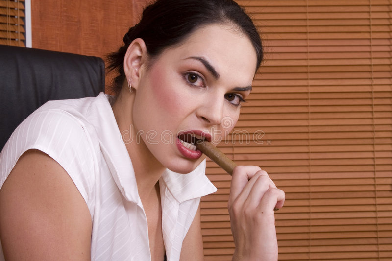 Download Brunette cigar stock image. Image of beauty, expression - 1895325