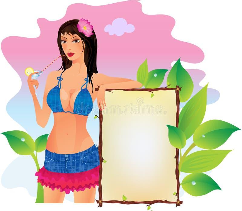 Download Brunette with cocktail stock vector. Illustration of illustration - 25056278