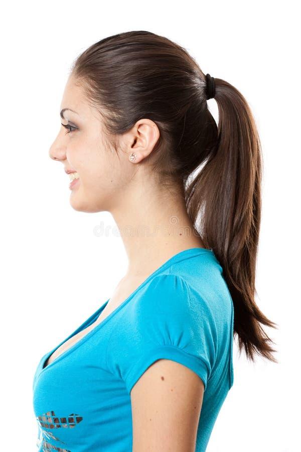 Brunette con el ponytail imagen de archivo