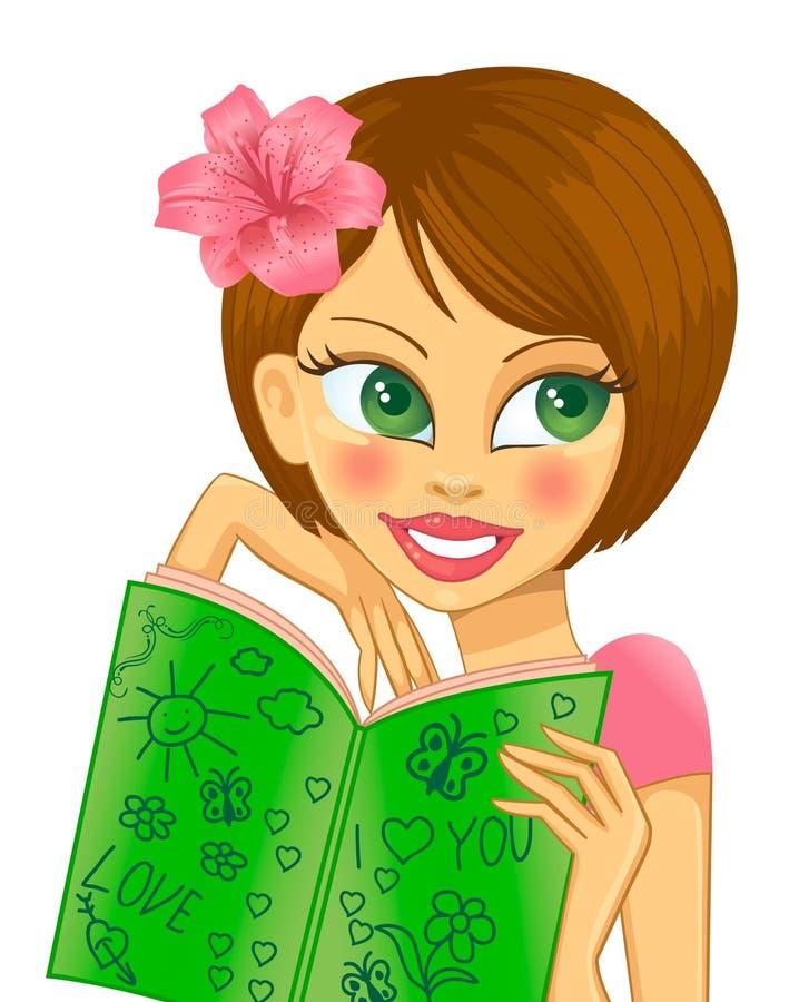 Brunette con un libro illustrazione vettoriale