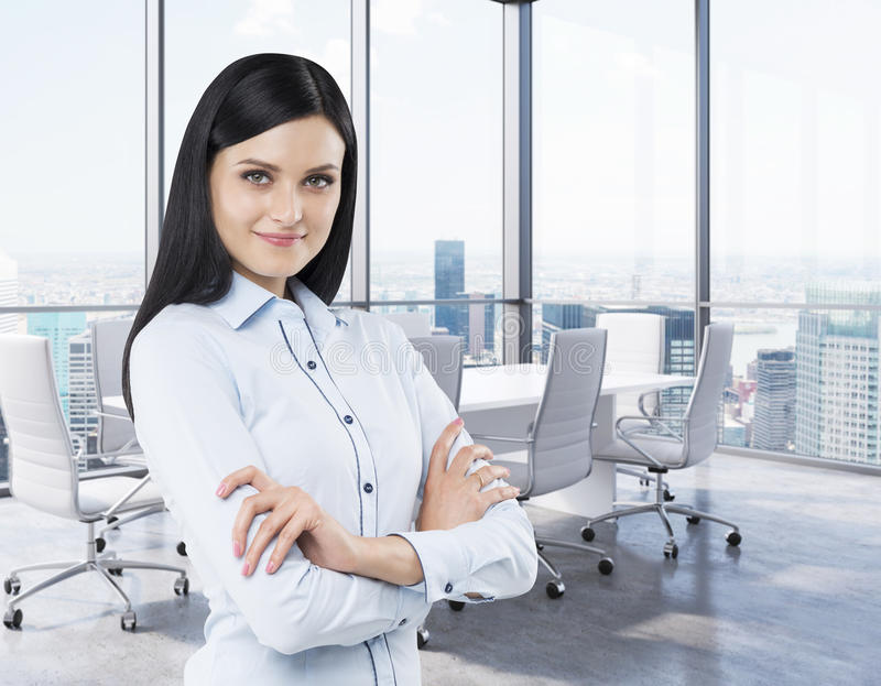 Brunette in a corner conference room. Modern office with huge windows and amazing New York panoramic view. stock photos