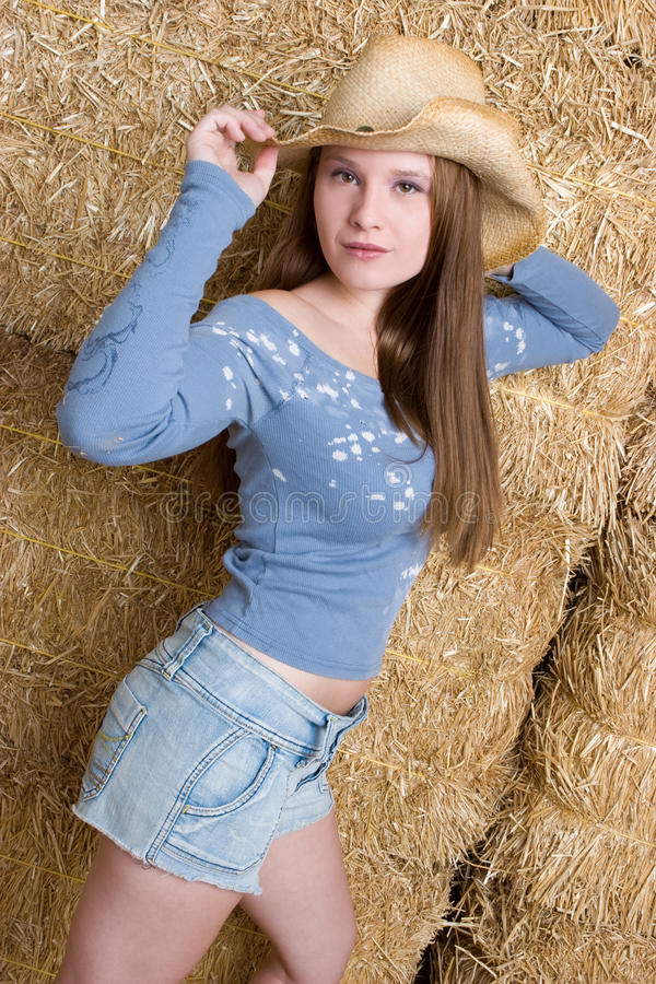 Brunette-Cowgirl lizenzfreies stockfoto