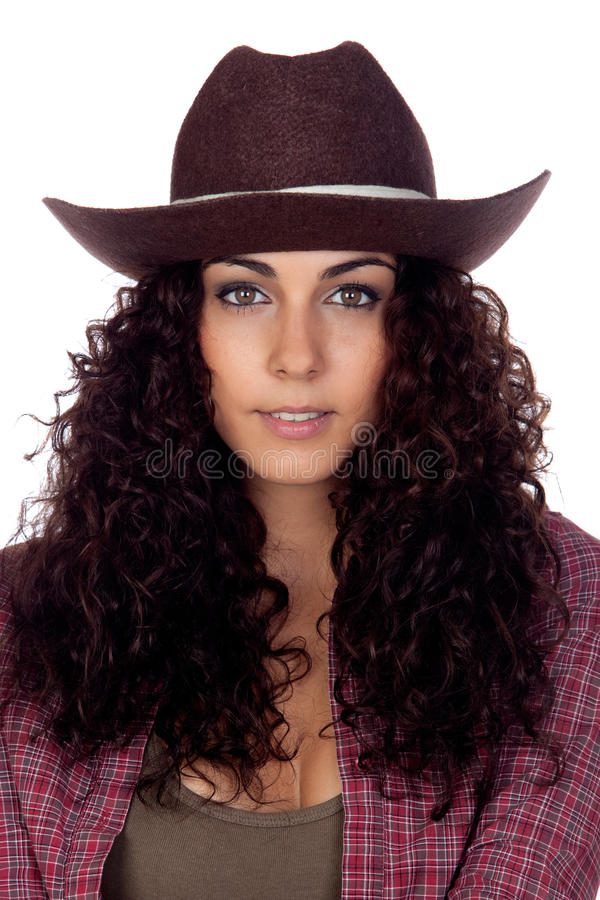 Download Brunette cowgirl stock image. Image of portrait, background - 27543183