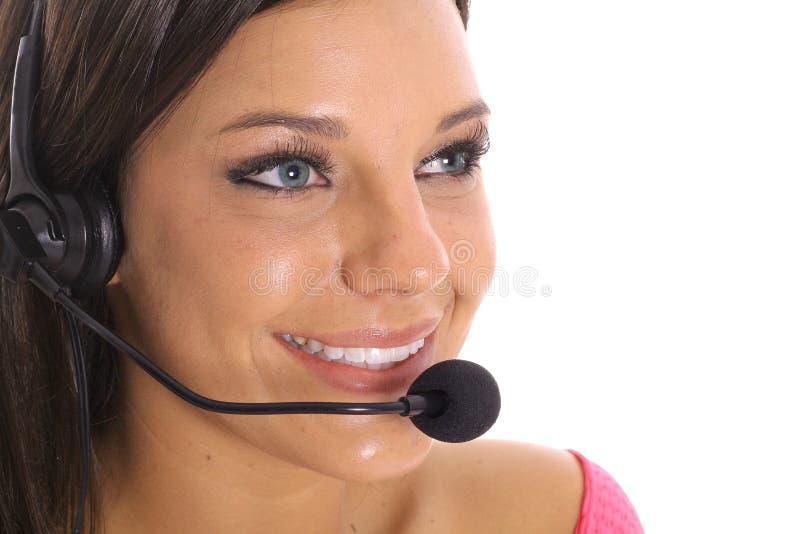 Brunette customer service stock image