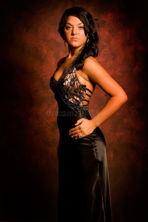 Brunette dans la robe élégante images libres de droits