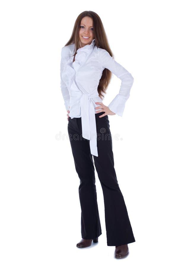 Brunette dans la robe d'affaires photos stock
