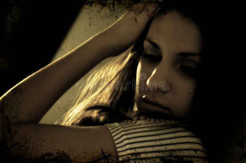 Brunette Daydreaming immagini stock libere da diritti