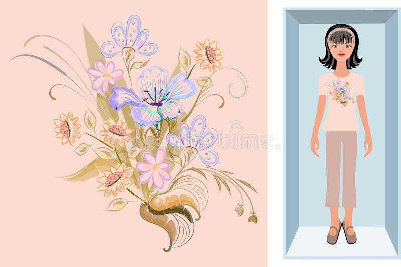 A brunette doll in bright pajamas in a box is an example of using a pattern Vector floral background/ 向量例证