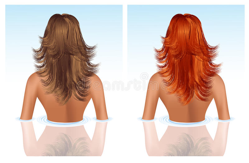 Brunette e ragazza con capelli rossi che catturano bagno royalty illustrazione gratis