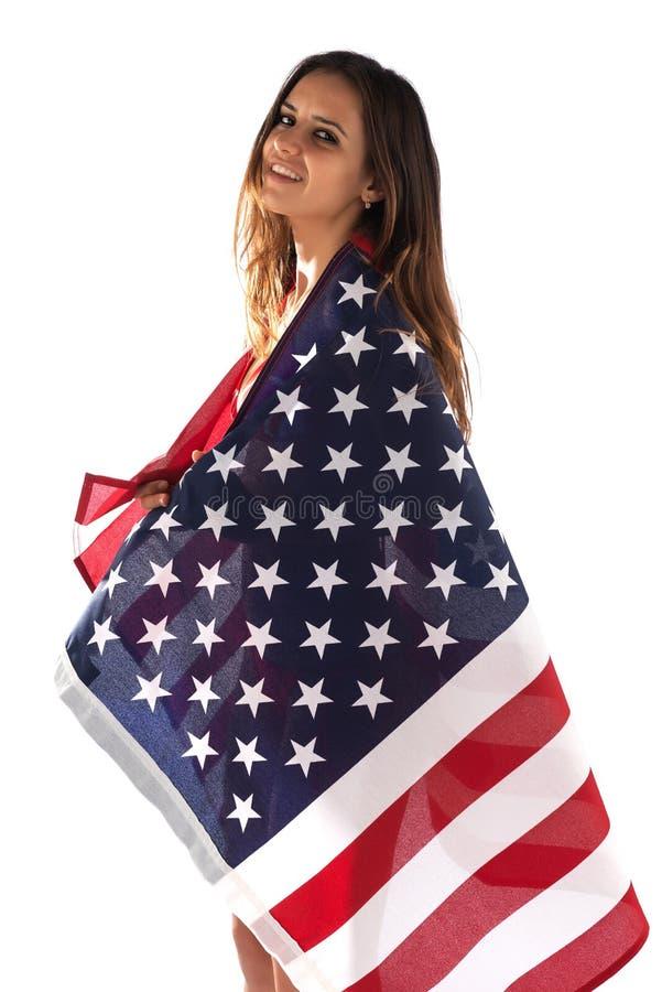 Brunette in een vlag royalty-vrije stock foto