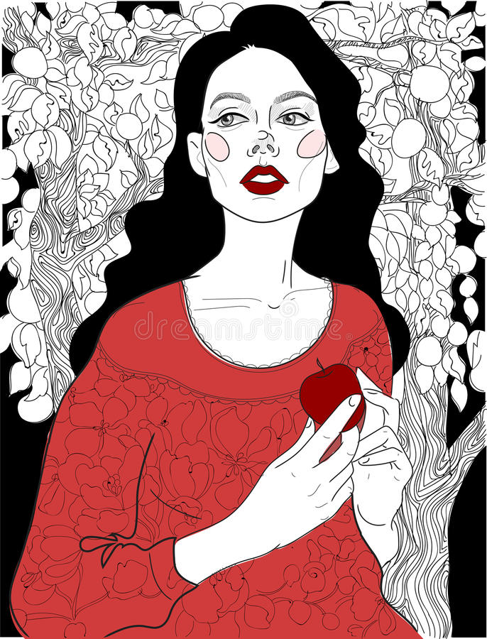 Brunette in einem roten Kleid in einem Garten stock abbildung