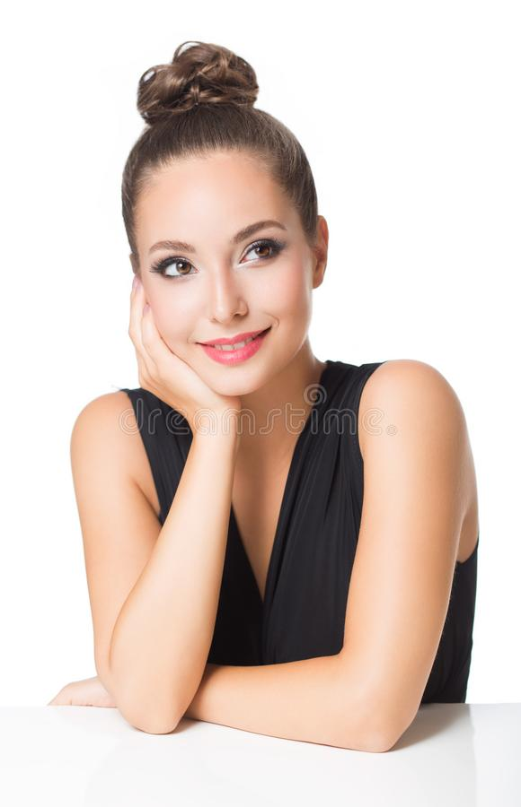 Brunette in elegant makeup stock photo