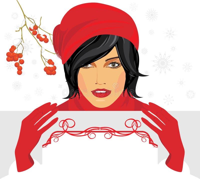 Brunette em um tampão feito malha vermelho com bandeira do cumprimento ilustração stock