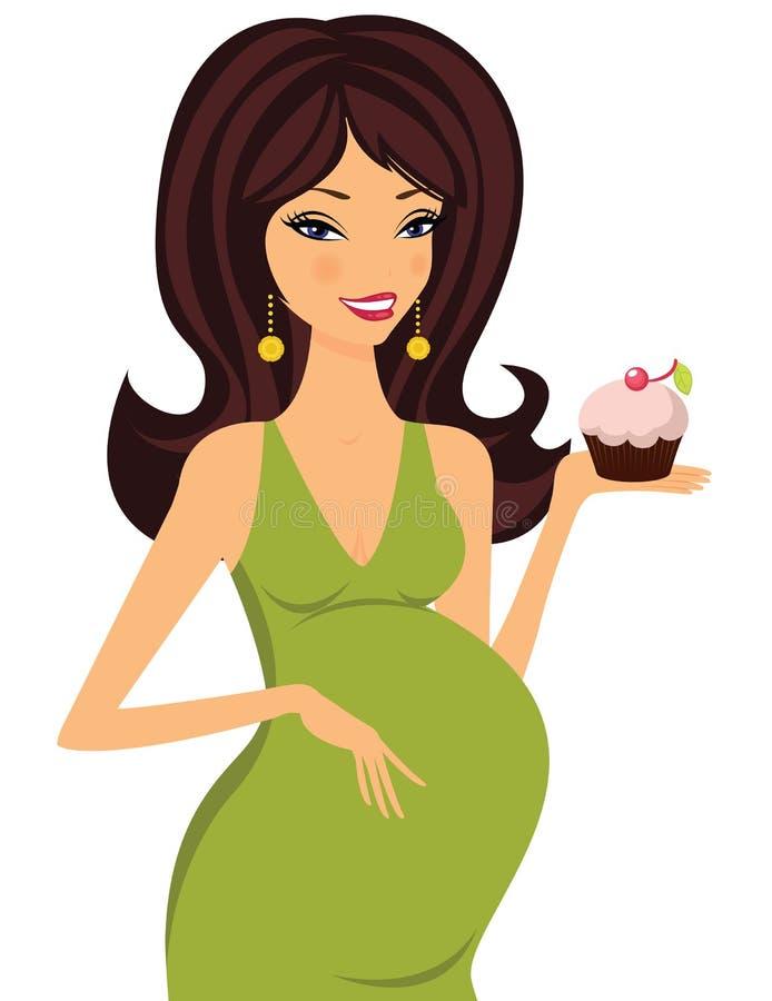 Brunette embarazado atractivo que sostiene una magdalena libre illustration