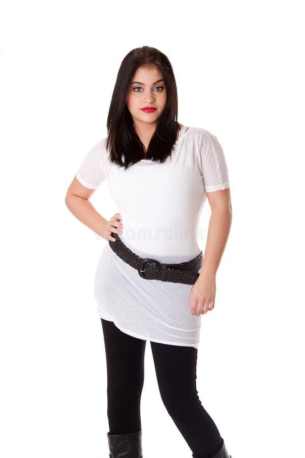 Brunette en la camisa blanca imágenes de archivo libres de regalías