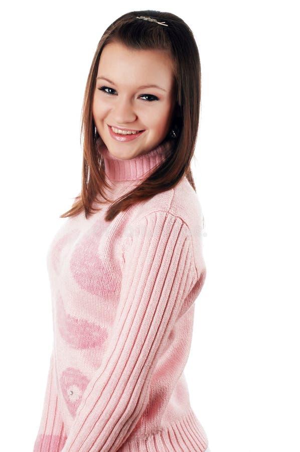 Download Brunette Encantador Novo Em Uma Camisola Imagem de Stock - Imagem de isolado, hairstyle: 12813365