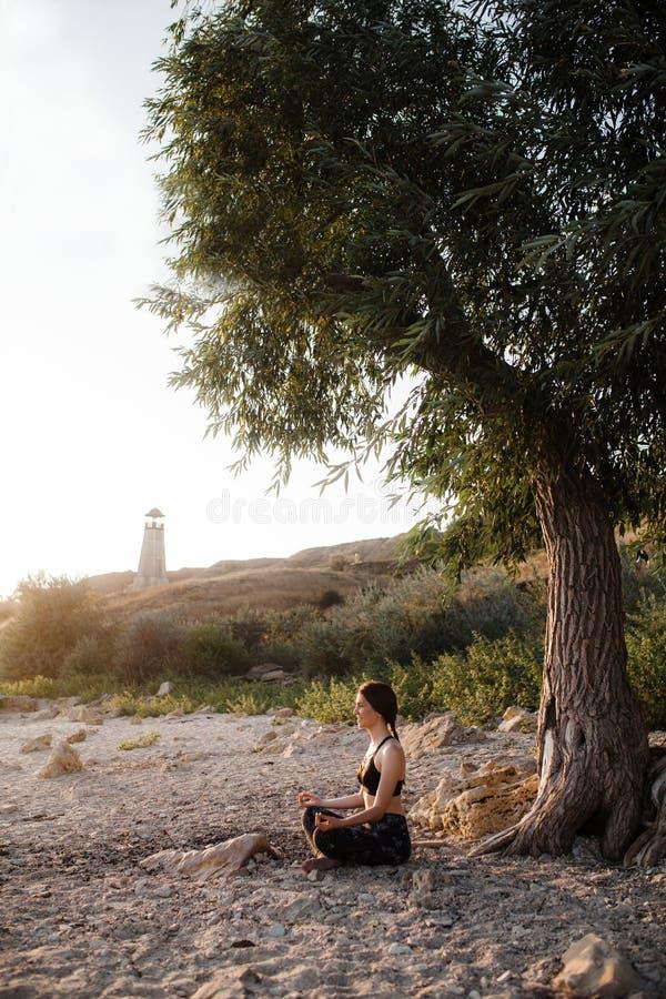Brunette entspannendes junge Frauen-übendes Yoga im Lotus Position At-Sandstrand unter großem grünem Baum Kopieren Sie Platz Gesu stockbild