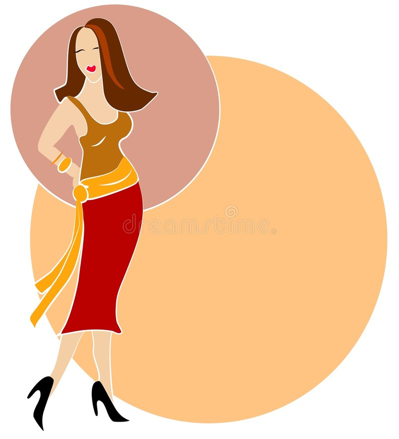 Brunette Fashion Woman Logo. An illustration clip art of a brunette fashion model girl posing in a colorful skirt and top against a background of colored circles vector illustration