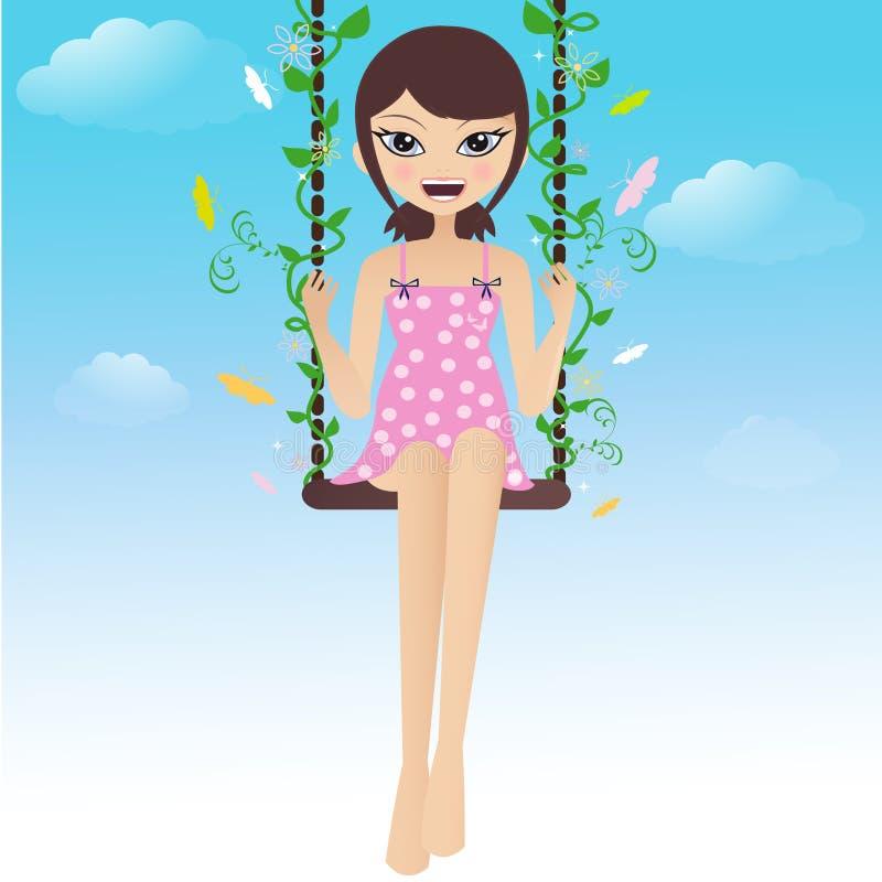 Brunette felice che oscilla con le farfalle royalty illustrazione gratis