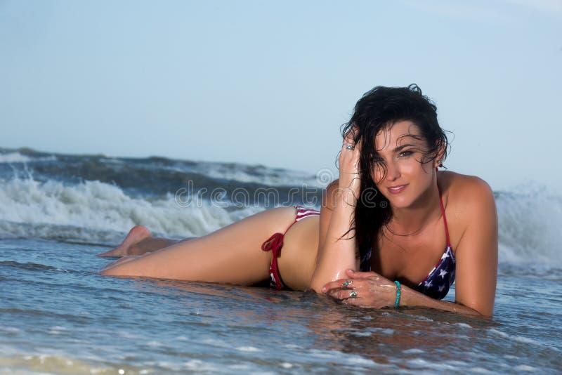 Brunette Female Model At The Beach royalty free stock image