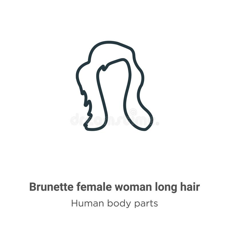 Brunette female woman long hair outline vector icon. Thin line black brunette female woman long hair icon, flat vector simple. Element illustration from royalty free illustration